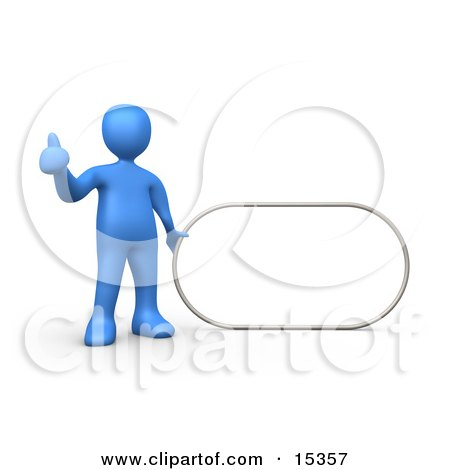 Blue Figure Giving The Thumbs Up While Standing By A Blank Sign Which Is Ready For An Advertisement Clipart Illustration Image by 3poD