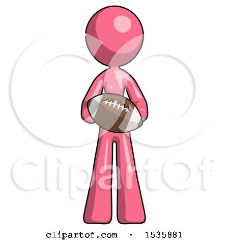 Pink Design Mascot Woman Giving Football to You by Leo Blanchette
