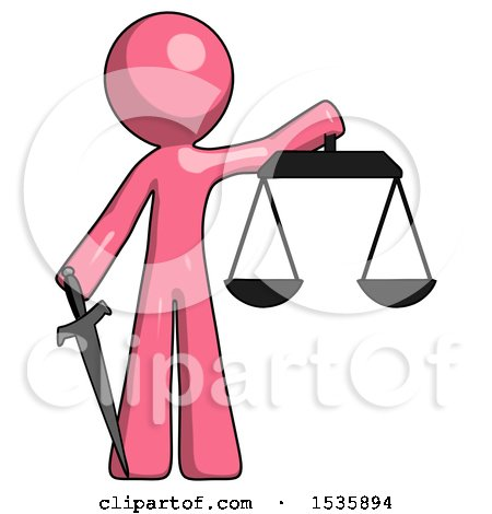 Pink Design Mascot Man Justice Concept with Scales and Sword, Justicia Derived by Leo Blanchette