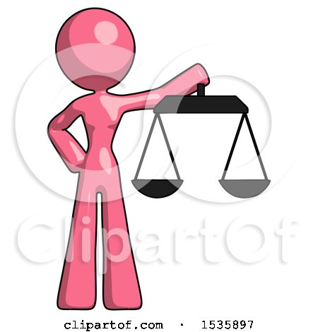Pink Design Mascot Woman Holding Scales of Justice by Leo Blanchette