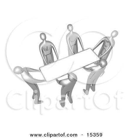 Group Of Silver People Working Together To Lift A Blank White Sign Which Is Ready For An Advertisement Clipart Illustration Image by 3poD