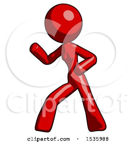 Red Design Mascot Woman Martial Arts Defense Pose Left by Leo Blanchette