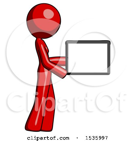 Red Design Mascot Woman Show Tablet Device Computer to Viewer, Blank Area by Leo Blanchette