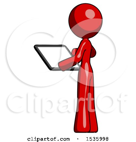 Red Design Mascot Woman Looking at Tablet Device Computer with Back to Viewer by Leo Blanchette