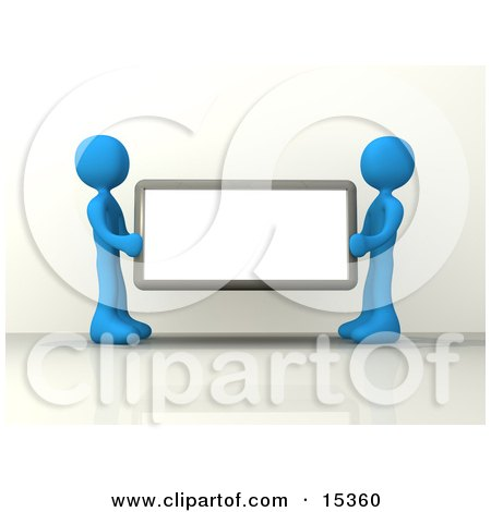 Two Blue Figures Holding Up A Blank Sign Ready For An Advertisment Clipart Illustration Image by 3poD
