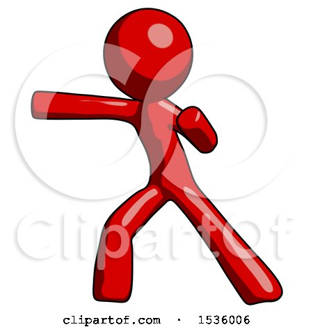 Red Design Mascot Man Martial Arts Punch Left by Leo Blanchette