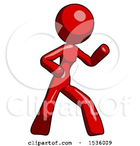 Red Design Mascot Woman Martial Arts Defense Pose Right by Leo Blanchette