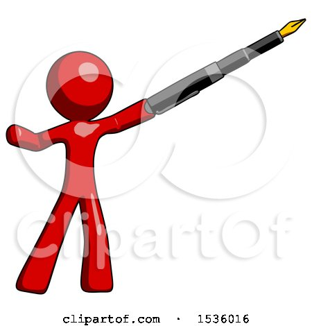 Red Design Mascot Man Pen Is Mightier Than the Sword Calligraphy Pose Posters, Art Prints