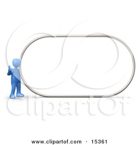 Blue Person Giving The Thumbs Up While Standing By A Big Blank Sign Which Is Ready For An Advertisement Clipart Illustration Image by 3poD