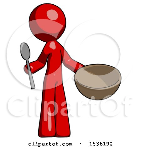 Red Design Mascot Man with Empty Bowl and Spoon Ready to Make Something by Leo Blanchette