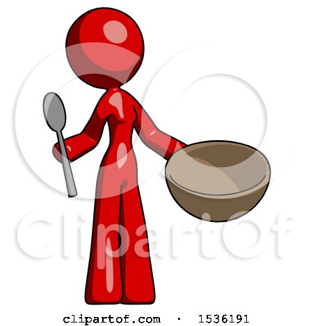 Red Design Mascot Woman with Empty Bowl and Spoon Ready to Make Something by Leo Blanchette
