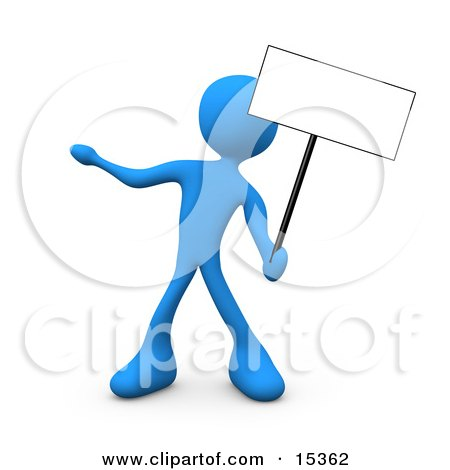 Blue Person Standing And Holding Up A Blank Sign For An Advertisement Clipart Illustration Image by 3poD