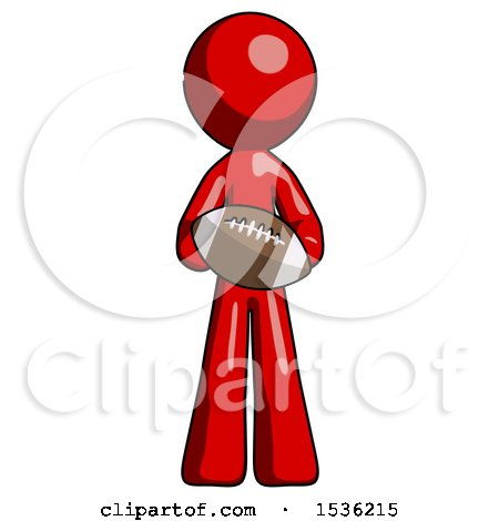 Red Design Mascot Man Giving Football to You by Leo Blanchette