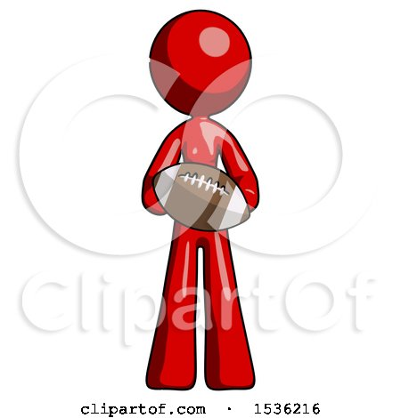 Red Design Mascot Woman Giving Football to You by Leo Blanchette
