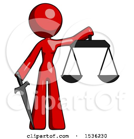 Red Design Mascot Woman Justice Concept with Scales and Sword, Justicia Derived by Leo Blanchette