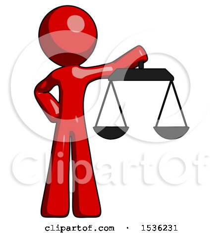 Red Design Mascot Man Holding Scales of Justice by Leo Blanchette