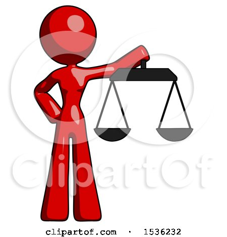 Red Design Mascot Woman Holding Scales of Justice by Leo Blanchette