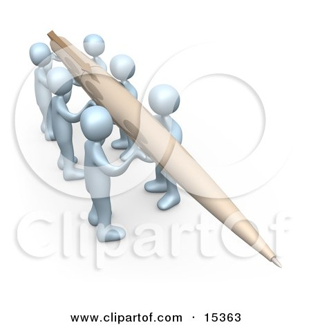 Group Of People Working Together To Hold A Giant Pen To Compose A Newsletter Or Article Clipart Illustration Image by 3poD