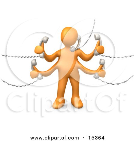 Orange Person Handling Five Different Telephone Conversations While Multi Tasking At Work Clipart Illustration Image by 3poD