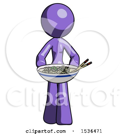 Purple Design Mascot Woman Serving or Presenting Noodles by Leo Blanchette