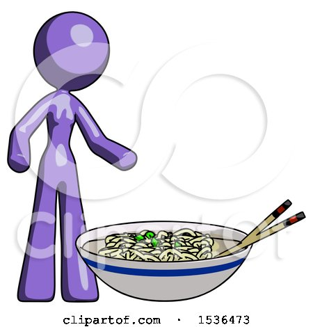 Purple Design Mascot Woman and Noodle Bowl, Giant Soup Restaraunt Concept by Leo Blanchette