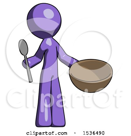 Purple Design Mascot Man with Empty Bowl and Spoon Ready to Make Something by Leo Blanchette