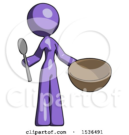 Purple Design Mascot Woman with Empty Bowl and Spoon Ready to Make Something by Leo Blanchette