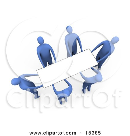Group Of Blue People Working Together To Lift A Blank White Sign Which Is Ready For An Advertisement Clipart Illustration Image by 3poD