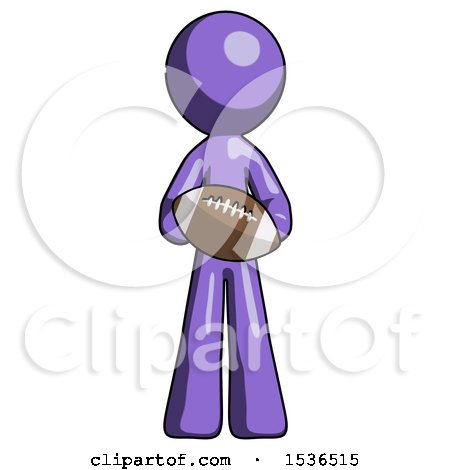 Purple Design Mascot Man Giving Football to You by Leo Blanchette