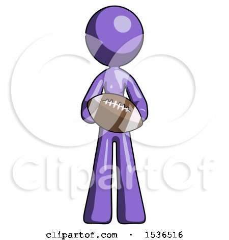 Purple Design Mascot Woman Giving Football to You by Leo Blanchette