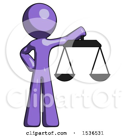 Purple Design Mascot Man Holding Scales of Justice by Leo Blanchette