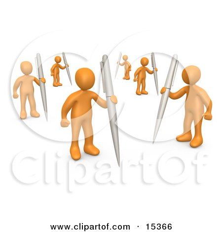 Group Of Orange People Holding Their Own Pens As A Metaphor For Writing In A Community Forum  Posters, Art Prints