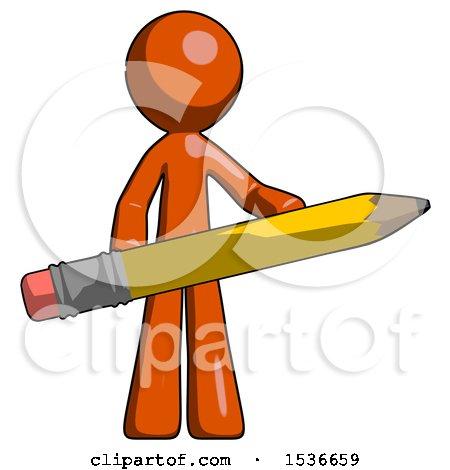 Orange Design Mascot Man Writer or Blogger Holding Large Pencil by Leo Blanchette