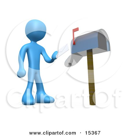 Blue Person Standing In Front Of A Mailbox With The Red Flag Up, Mailing A Letter Clipart Illustration Image by 3poD