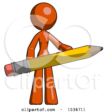 Orange Design Mascot Woman Office Worker or Writer Holding a Giant Pencil by Leo Blanchette