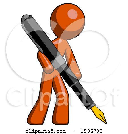 Orange Design Mascot Man Drawing or Writing with Large Calligraphy Pen Posters, Art Prints