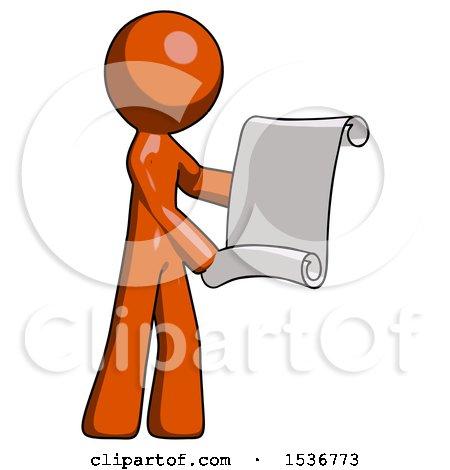 Orange Design Mascot Man Holding Blueprints or Scroll by Leo Blanchette