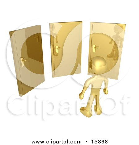 Gold Figure Standing In Front Of Three Different Golden Doors, Symbolizing Someone With Only Amazing Opprotunities Ahead  Posters, Art Prints