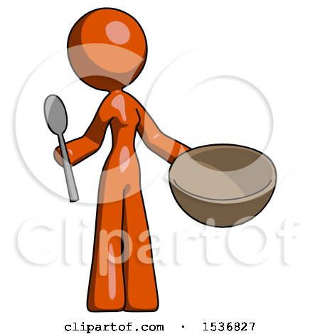 Orange Design Mascot Woman with Empty Bowl and Spoon Ready to Make Something by Leo Blanchette