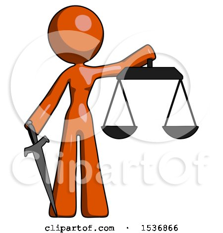 Orange Design Mascot Woman Justice Concept with Scales and Sword, Justicia Derived by Leo Blanchette