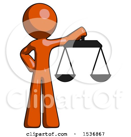 Orange Design Mascot Man Holding Scales of Justice by Leo Blanchette