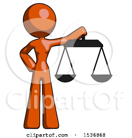 Orange Design Mascot Woman Holding Scales of Justice by Leo Blanchette
