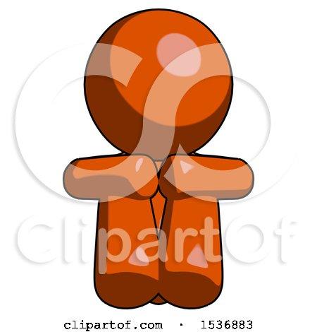 Orange Design Mascot Man Sitting with Head down Facing Forward by Leo Blanchette