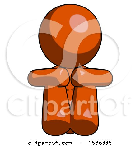 Orange Design Mascot Woman Sitting with Head down Facing Forward by Leo Blanchette