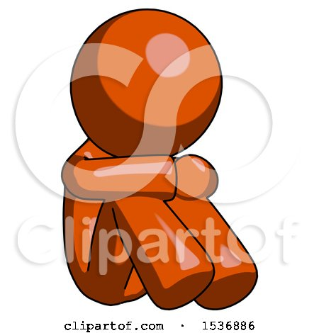 Orange Design Mascot Man Sitting with Head down Facing Angle Right by Leo Blanchette