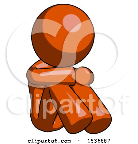 Orange Design Mascot Woman Sitting with Head down Facing Angle Right by Leo Blanchette