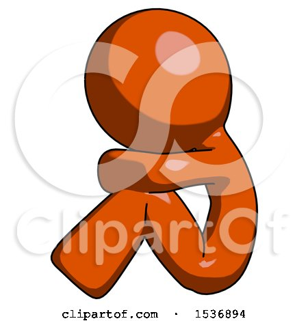 Orange Design Mascot Man Sitting with Head down Facing Sideways Left by Leo Blanchette