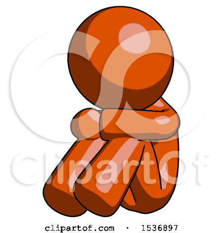 Orange Design Mascot Man Sitting with Head down Facing Angle Left by Leo Blanchette