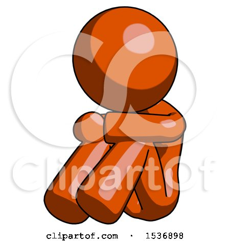 Orange Design Mascot Woman Sitting with Head down Facing Angle Left by Leo Blanchette