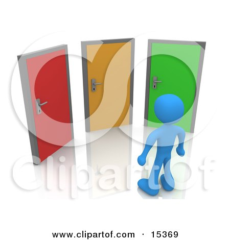 Blue Figure Standing In Front Of Three Different Colored Doors, Symbolizing Different Paths To Take For Job Opportunities Or Life Choices Clipart Illustration Image by 3poD